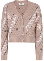 Fendi Karligraphy Cable-Knit Wool & Cashmere Cardigan