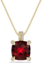 David Yurman Ch'telaine Pendant Necklace with Garnet and Diamonds in 18K Gold