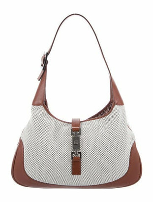 Gucci Leather Perforated Jackie O Hobo w/Pouch White