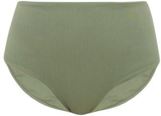 JADE SWIM Bound High-rise Ribbed Bikini Briefs - Womens - Dark Green
