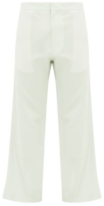 Edward Crutchley Cropped-cuff Wool-poplin Suit Trousers - Green