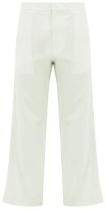 Edward Crutchley Cropped-cuff Wool-poplin Suit Trousers - Mens - Green