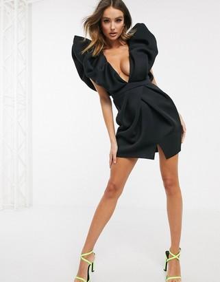 ASOS DESIGN plunge mini dress with extreme bubble shoulder details in black