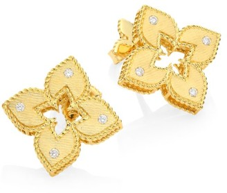 Roberto Coin Venetian Princess 18K Yellow Gold & Diamond Stud Earrings