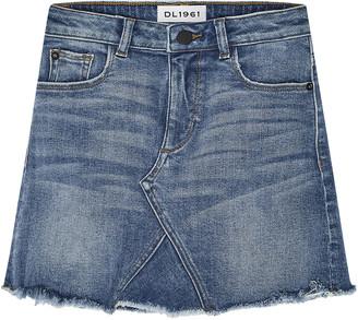 DL1961 Girls' Jenny Raw-Edge Denim Mini Skirt, Size 7-16