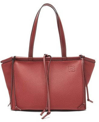 Loewe Cushion Small Grained-leather Tote Bag - Womens - Dark Red