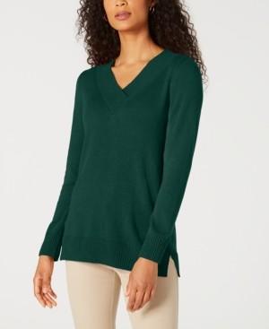Karen Scott Solid Crossover V-Neck Sweater, Created for Macy's
