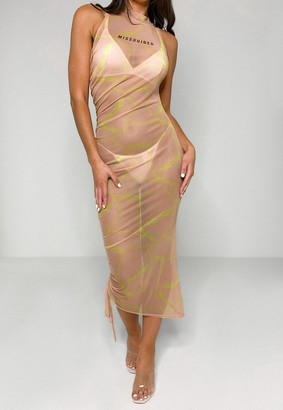 Missguided Nude Barbed Wire Print Ruched Mesh Midi Dress