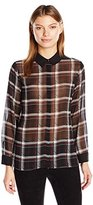 Vince Camuto Women's Long Sleeve Harbor Plaid Button Front Blouse
