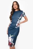 boohoo Floral Pleat Detail Midi Dress