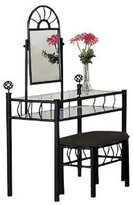 Asia Direct Metal Bedroom Vanity with Glass Table & Bench Set