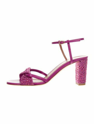 Malone Souliers Suede Crystal Embellishments Sandals Purple