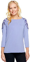 George Simonton Milky Knit Top with Beaded Applique