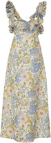 Zimmermann Ruffled Floral-Print Linen Midi Dress