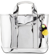 Rebecca Minkoff Sofia Mirrored Pompom Tote Bag, Silver