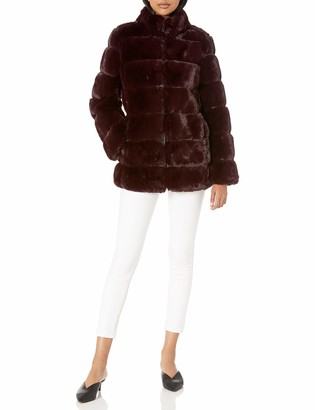Via Spiga Women's Grooved Faux-Fur Reversible Jacket