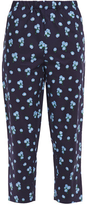Marni Cropped Floral-print Cotton-poplin Tapered Pants