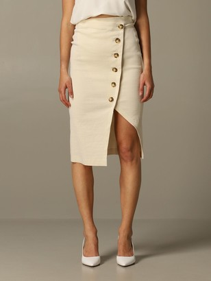 Pinko Bontan Pencil Skirt In Linen And Viscose