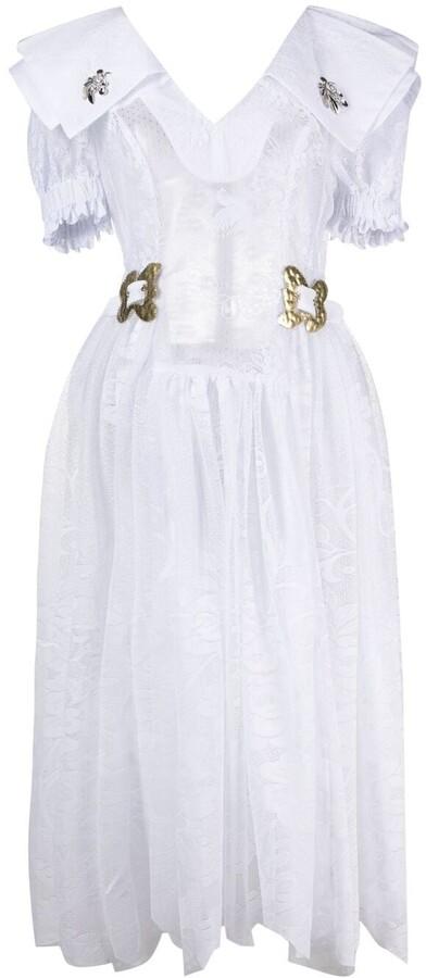 Thumbnail for your product : Chopova Lowena Lace Draped Midi Dress