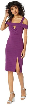 BCBGeneration Cocktail Off-the-Shoulder Dress (Plum Wine) Women's Dress