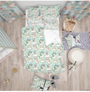 Design Art Designart 'Pattern With Cute Unicorns And Clouds' Modern Kids Duvet Cover Set - Twin Bedding