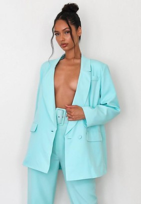 Missguided Turquoise Co Ord Oversized Wrap Front Blazer