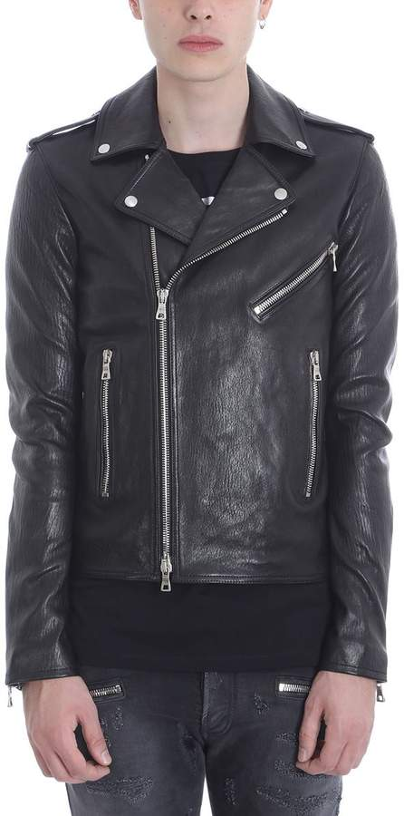 Balmain Biker Black Leather Jacket