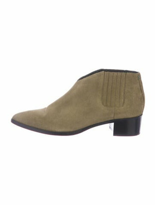 AEYDĒ Suede Cutout Accent Chelsea Boots Green