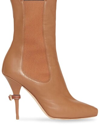 Burberry Leather Peep-toe Ankle Boots