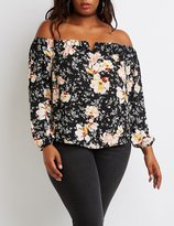 Charlotte Russe Plus Size Floral Off-The-Shoulder Notched Top