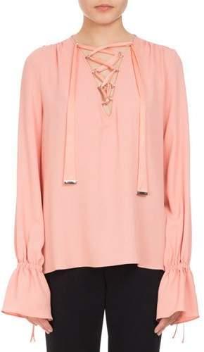 Altuzarra Capulet Lace-Up Ruffle-Cuff Top, Pink