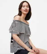 LOFT Striped Pom Pom Off The Shoulder Top