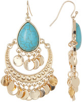Natasha Accessories Stone Teardrop & Coin Fringe Earrings