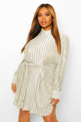 boohoo Plus Pleated High Neck Tie Waist Shift Dress