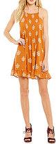 Blu Pepper Printed Ruffle Hem Sleeveless Swing Dress