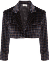 Isa Arfen Cropped Tartan Velvet Jacket - Dark brown