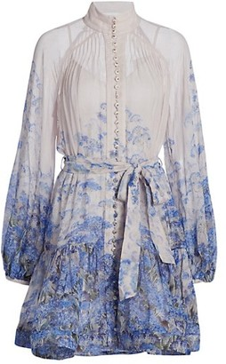 Zimmermann Wild Botanica Luminous Puff-Sleeve Mini Dress