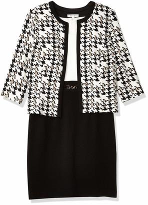 Sandra Darren Women's 2 PC 3/4 Sleeve Houndstooth Jacket Dress Set