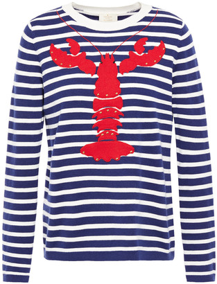 Kate Spade Studded Embroidered Striped Cotton-blend Sweater