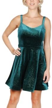 Crystal Doll Juniors' Velvet Sparkle Fit & Flare Dress