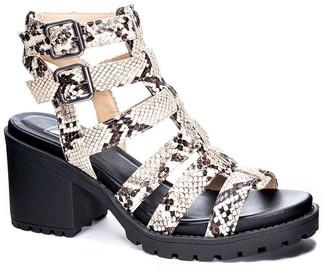 Chinese Laundry Finnegan Snakeskin Printed Block Heel Sandal