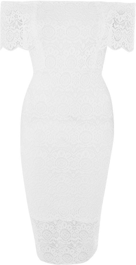TFNC **Carolina Lace Midi Bardot Dress