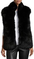 Diane von Furstenberg Fox & Rabbit Fur Vest, Solid Black
