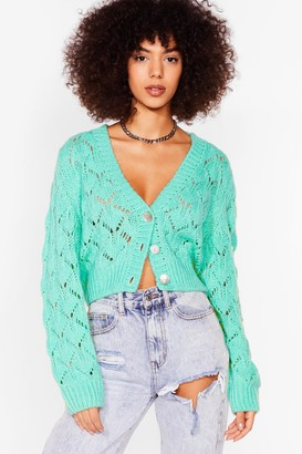 Nasty Gal Womens Pointelle It Out Cropped Button-Down Cardigan - Green - S, Green