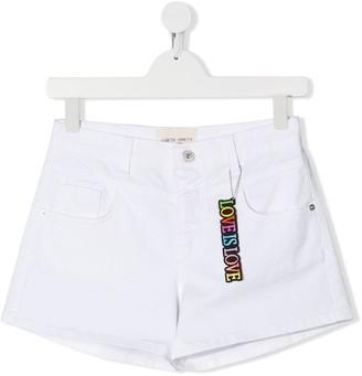Alberta Ferretti Kids TEEN Love Is Love charm high-waisted shorts