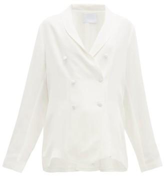 Asceno - Double-breasted Silk Blazer - Womens - White