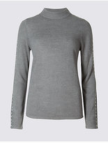 Classic Embellished Sleeve Funnel Neck Jumper