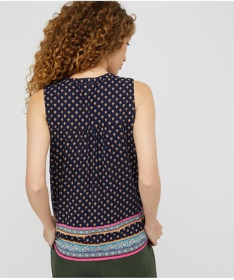 Monsoon Ashleigh Border Print Sleeveless Top - Navy