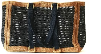 Maraina London Agnes Black & Brown Raffia Beach Bag