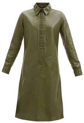 Dodo Bar Or Pattie Ruched-edge Leather Dress - Light Green